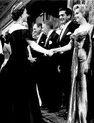 Queen Elizabeth II and Marilyn Monroe, both aged 30 -- and Victor Mature, aged 43, 1956 photo by JFGryphon