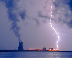 Lightning and Salem Power Plant 2 photo by Delaware Photographer Melissa Fague - Nature and L