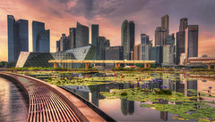 Singapore at sunset photo by Fil.ippo