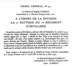 1945 - RA -citation à l'ordre de lavdivision  Libre d'or archives mairie Herbsheim
