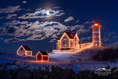 Moon over Nubble photo by Mike Blanchette