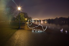 CREEtaceous Dinosaur (All In Camera Triceratops Light Painting for #Flickr12Days), London Hyde Park photo by flatworldsedge