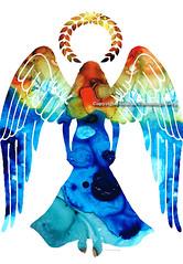 Guardian Angel - Spiritual Art Painting by Sharon Cummings photo by BuyAbstractArtPaintingsSharonCummings