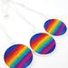 Ibiza - Felted Rainbow Pendant - A Funky Felt Art Pendant with a Colourful Rainbow.
