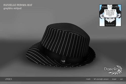 DANIELLE Fedora Hat Graphite Striped FFH