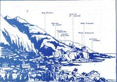 Alpes Maritimes- Croquis panoramique de la frontière franco-italienne au Pont Saint Louis- Jean Coquil, capitaine au BM 5
