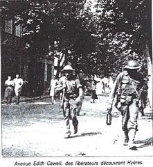 Provence- 1944 -Hyères- 21 aout - rue Edith Cawell - Source  Pierre Tropet conservateur du Memorial de Hyères