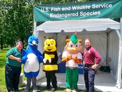 Bob Pos and Lew Gorman with Biodiversity Festival characters, Friday May 20, 2016