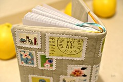 Book cover with fabric stamps / back (2) photo by balu51