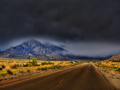 View of Late Spring Storm from Whitney Portal Road, California photo by Beau Rogers