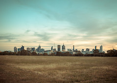 Melbourne skyline; dusk at Royal Park photo by Dr Abbate