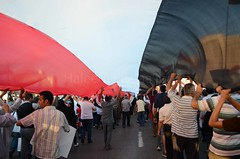 Protesters Hold A Big Egyptian Flag During a March photo by Haleem Elsha3rani حليم الشعراني