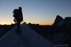 Mountaineer with Grand Jorasses at dawn photo by Bernhard_Thum