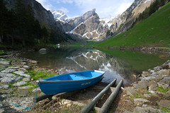 a blue boat @ seealpsee . appenzell innerrhoden . switzerland photo by Toni_V