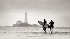 Surfers at Old Hartley photo by Alistair Bennett