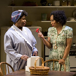 Cheryl Lynn Bruce (Elizabeth) and Wandachristine (Quilly) in THE OLD SETTLER at Writers Theatre. Photos by Michael Brosilow.