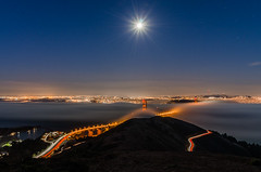 The Bridge. The Night. The Moon. The Fog. photo by Larry Nienkark