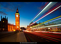 Bus Light Trails to Big Ben photo by Edwinjones