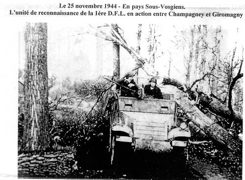 1944 Franche Comté - Entre Champagney et Giromagny - unité de reconnaisance de la D.F.L - Source : Gérard Galland