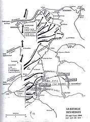 Carte Bataille des Vosges 25 sept- 5 oct 1944 source - BM 24- Source  Carnet de route d'André Sébart