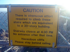 Sign at Lighthouse stairs