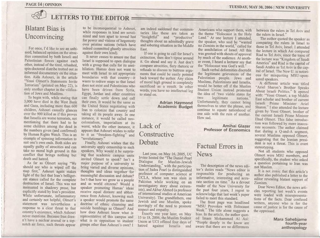 20060530 NewU Letters to the Editor