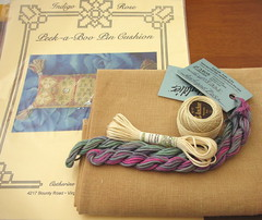 Threads and Fabric for Indigo Rose's Peek-a-Boo Pin Cushion