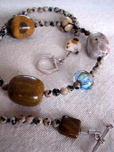 Dalmation Jasper, Ocean Jasper and Lampwork w/Balinese Silver toggle finish