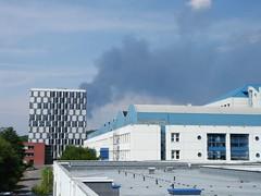 Das Feuer vom Dach des DFKI aus