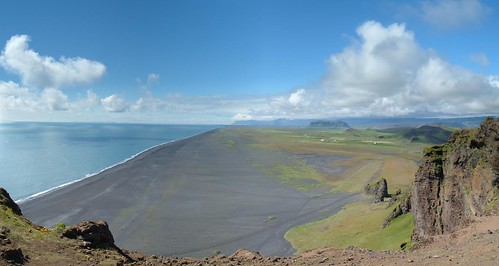 This panorama was made from six photos taken atop Dyrhólaey