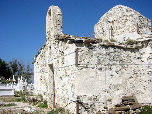 Old church held up with twine, Naxos