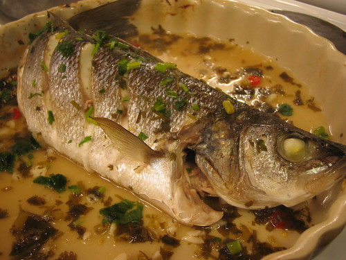steamed bass with lemond and fish sauce