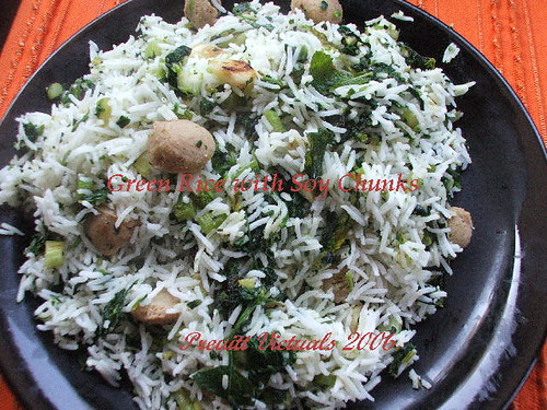 easy recipe vegetarian rice mint spinach
