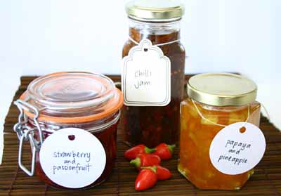 Three Jams: Strawberry and Passionfruit, Chilli, and Papaya and Pineapple Jams