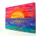 Ibiza - Ibiza Sunset - A Bright and Bold Felted Sunset - Stretched on a Canvas Art Frame