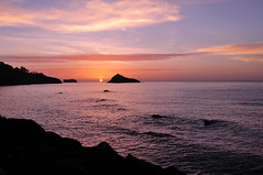 Sunrise Meadfoot Beach looking towards Thatcher Rock photo by rosiespoonerphotos