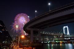 Fireworks and Rainbow Bridge photo by mikaest.777