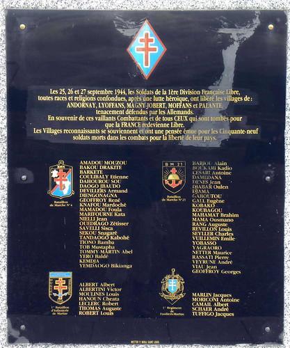 Plaque à Lyoffans en mémoire des Soldats Morts pour la France dans les combats des Vosges