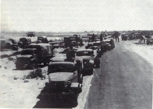 Regroupement de camions après la sortie