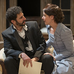 Sean Fortunato (Jorgen Tesman) and Kate Fry (Hedda) in HEDDA GABLER at Writers Theatre.  Photo by Michael Brosilow.