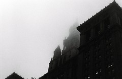 Manhattan Municipal Building in fog photo by aaronvandorn