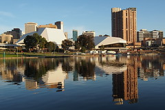 Adelaide skyline from the River Torrens north bank (May 7, 2013) photo by Adriano_of_Adelaide