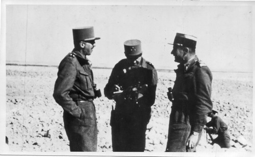 De Larminat - 1942 - Gal Koenig , Gal de Larminat et Col Amilakvari - fortin- col. Blandine Bongrand Saint Hillier