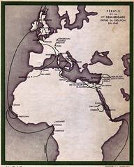 Cartographie générale du parcours de la Division Française Libre