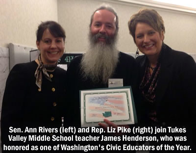 Rep. Liz Pike and Sen. Ann Rivers with teacher James Henderson.