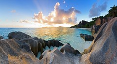 La Digue sunset on Anse Source d'Argent - Seychelles photo by lathuy