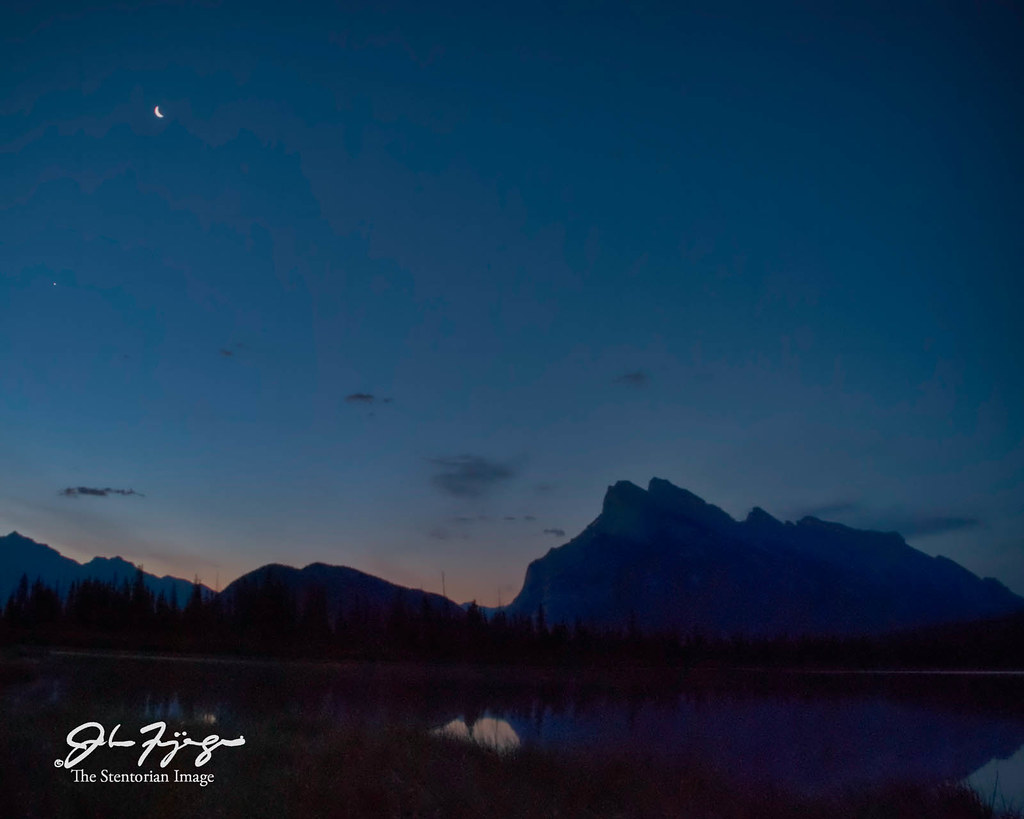 Mount Rundle And Moon