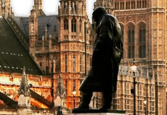 Churchill statue - Houses Of Parliament- London 2014 photo by fleeting glimpse2009