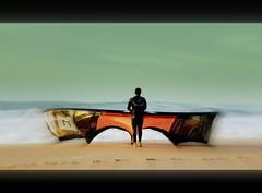 hossegor kite surfeur face a  l ocean photo by dudulandes