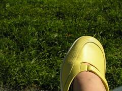 soulier jaune sur gazon vert